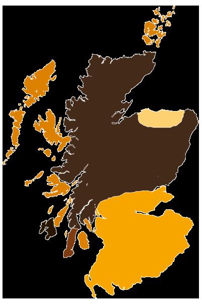 Karte von Schottland - Whiskyregionen