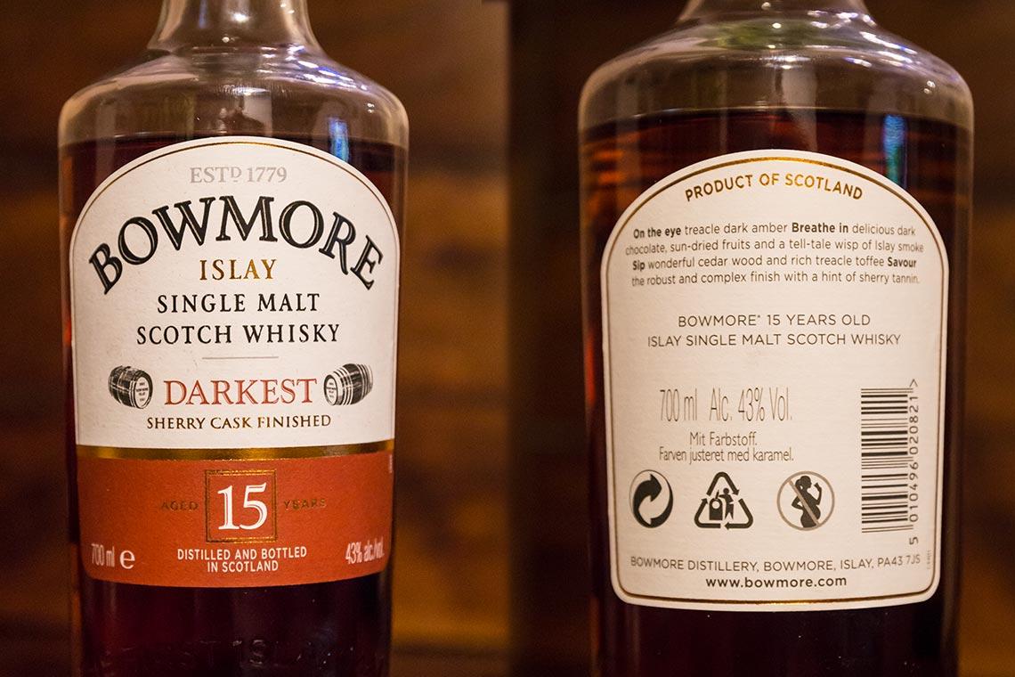 Whiskyetikett - Bowmore Darkest Single Malt Scotch Whisky