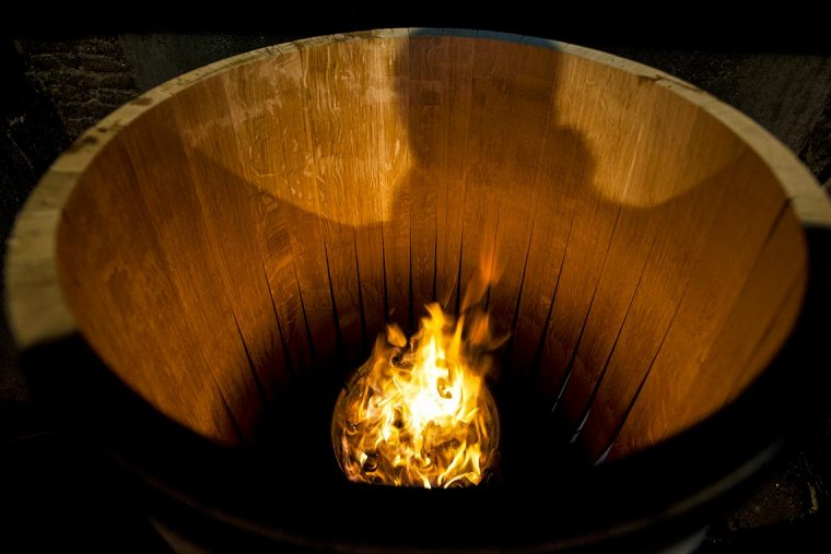 Toasting an Oak Barrel