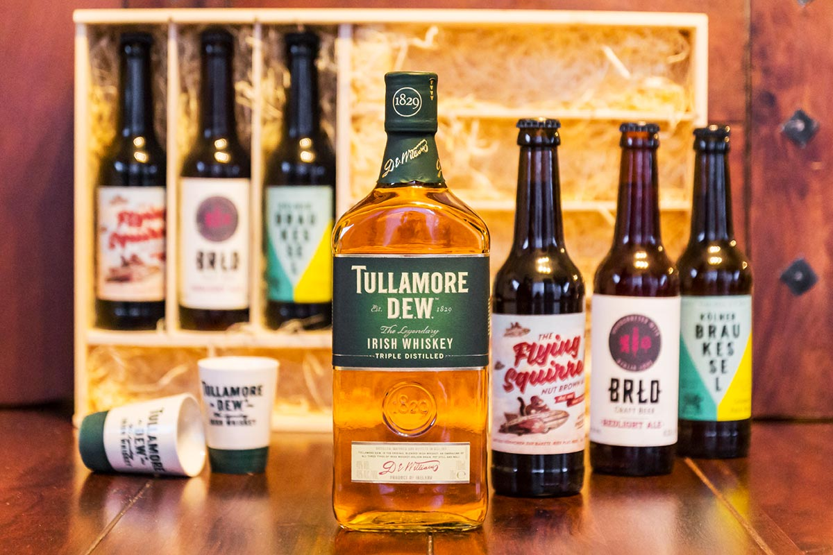 Tullamore DEW Irish Whiskey Set - A D.E.W. & A BREW - Inhalt